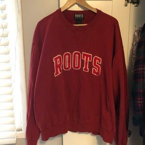 Roots crew neck red logo sweater